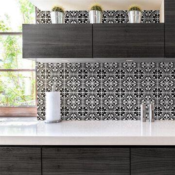 SomerTile Harmony Art Black Porcelain Mosaic Floor and Wall Tile - 10 tiles/9.79 sf