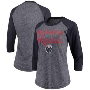 Washington Wizards Majestic Threads Women's Double Dribble Raglan Tri-Blend 3/4-Sleeve T-Shirt - Heathered Navy/Navy