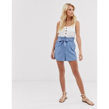 Vila tie waist denim shorts