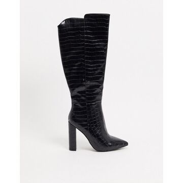 Glamorous over-the-knee boots in black croc