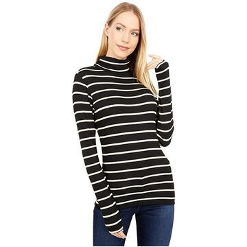 Three Dots Refined Rib Stripe Long Sleeve Turtleneck (Black/White) Women's Clothing
