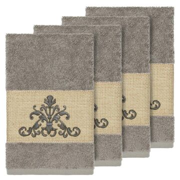 Authentic Hotel and Spa Grey Turkish Cotton Scrollwork Embroidered Hand Towels (Set of 4)