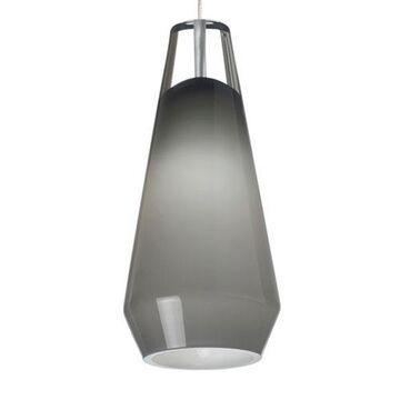 Lustra Chrome One-Light LED Mini Pendant with Smoke Shade and Chrome Stem