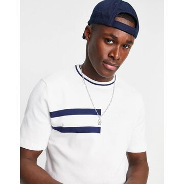 Only & Sons knitted t-shirt in white with navy chest stripe