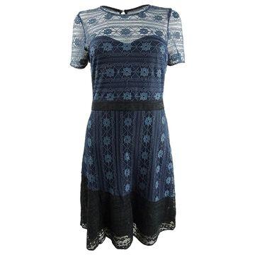 Kensie Women's Illusion Lace Dress - Navy