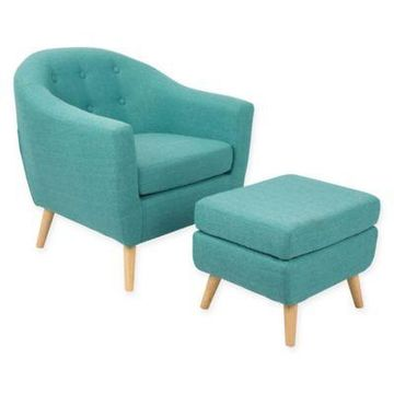 LumiSource Rockwell Chair with Ottoman in Teal