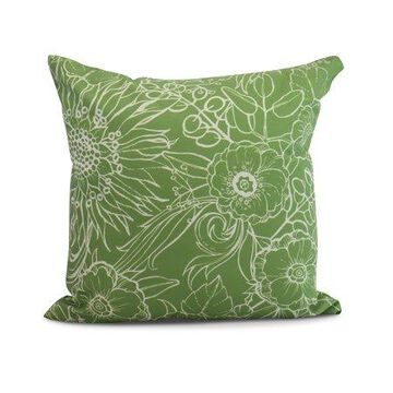 Simply Daisy, 26 x 26 Inch, Zentangle 4, Floral Print Pillow, Green