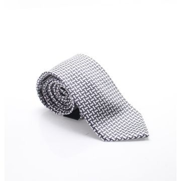 Sean John Gray White Men's One Size Large Basketweave Silk Neck Tie