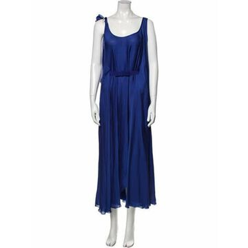 Silk Midi Length Dress Blue