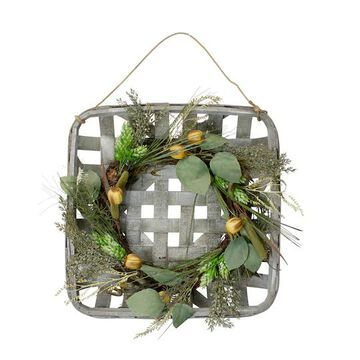 """18"""" Green Hop & Cattail Grapevine Wreath in a Wooden Tray Hanger By Northlight 