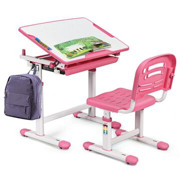 Goplus 19.5-in Pink Modern/Contemporary Poplar Standing Desk with Chair | OGY01394