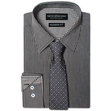 Men's Modern Fitted Striped Dress Shirt & Grid Tie Set