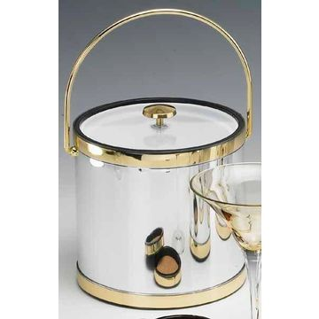 Kraftware 76464 Mylar Brushed Chrome and Brass 3 Quart Ice Bucket with Bale Handle Lucite Cover with Flat Knob