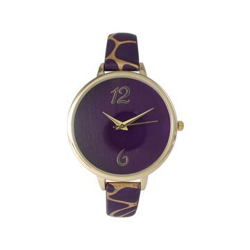 Olivia Pratt Womens Cheetah Print Purple Petite Leather Watch 26356Purple