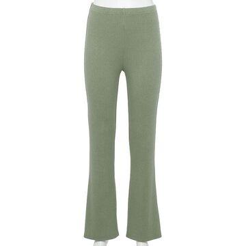 Juniors' WallFlower Cotton Ribbed Flare Pants, Girl's, Size: Medium, Lt Green