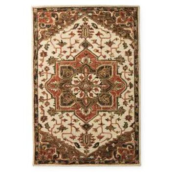 Alexander Home Madeline Medallion Wool Hand-Hooked Star Traditional Rug (Ivory/Tobacco 5' x 7'6