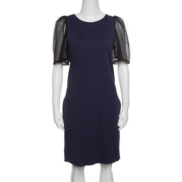 See by Chloe Navy Blue Jersey Contrast Lace Sleeve Dress S