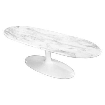 Fine Mod Imports Squaval Faux-Marble Coffee Table, White