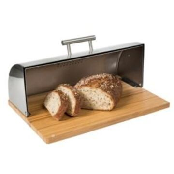 Honey Can Do Stainless Steel Bread Box with Bamboo Board