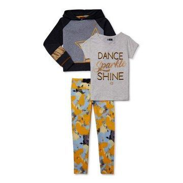 RBX Girls Fleece Hoodie, Graphic T-Shirt And Performance Leggings, 3-Piece Active Set, Sizes 7-12