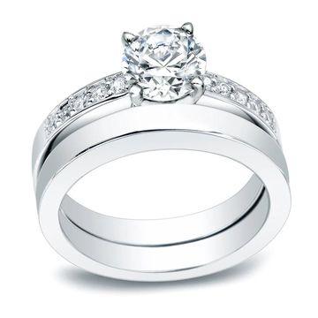 Auriya Platinum 1/2 carat TW Classic Round Diamond Engagement Ring Set