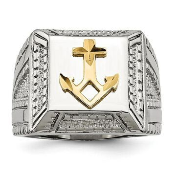 Chisel Stainless Steel Polished Yellow IP-plated with Sterling Silver Anchor Ring (9)