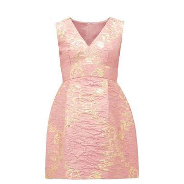 Dolce & Gabbana - Floral-brocade Mini Dress - Womens - Pink Multi