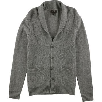 Tasso Elba Mens Cable Cashmere Cardigan Sweater