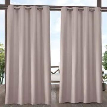 ATI Home Biscayne Indoor/Outdoor Grommet Top Curtain Panel Pair (54X84 - Blush)