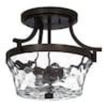 allen + roth Latchbury 14.38-in W Aged Bronze Textured Semi-Flush Mount Light