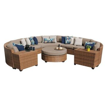 TK Classics Laguna 8-Piece Outdoor Wicker Sofa Set, Wheat