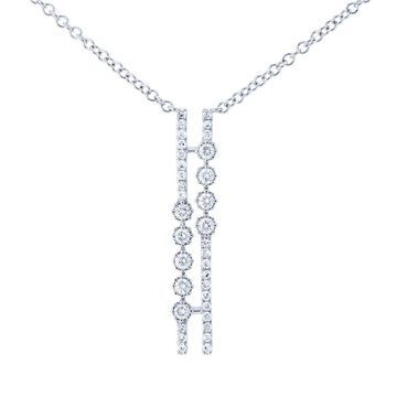 Annello by Kobelli 10k Gold 1/6ct TDW Diamond Parallel Geometric Necklace, 18in Chain (Multiple Color Options)
