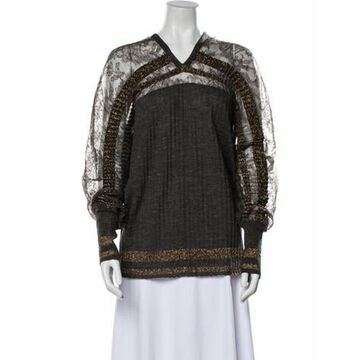 Lace Pattern V-Neck Sweater Brown