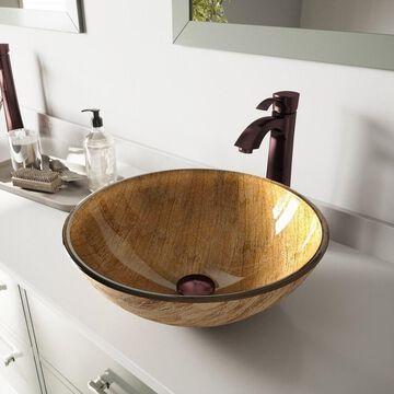VIGO Amber Sunset Glass Vessel Bathroom Sink Set with Otis Faucet
