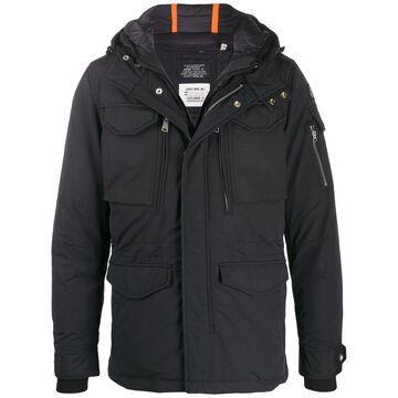 hooded zip-front jacket
