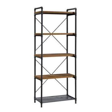 Sauder Iron City Tall Metal Bookcase in Oak