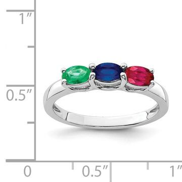 Versil Sterling Silver Rhodium-plated Emerald/Ruby/Sapphire Ring (8)