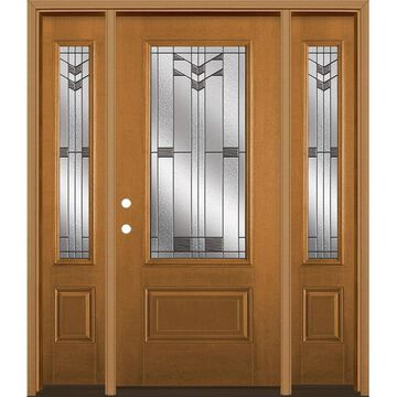 Masonite Frontier 64-in x 80-in Fiberglass 3/4 Lite Right-Hand Inswing Oakcrest Stained Prehung Single Front Door with Sidelights with Brickmould