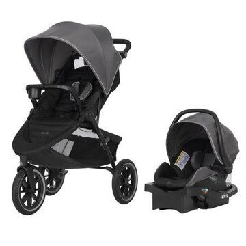 Evenflo Folio3 Stroller Jogger Travel System w/ LiteMax 35 Car Seat, Avenue Gray