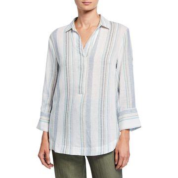 Serenity Striped Linen-Blend Top