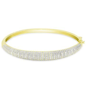 Finesque Gold or Silver Overlay 1/2 ct TDW Diamond Bangle