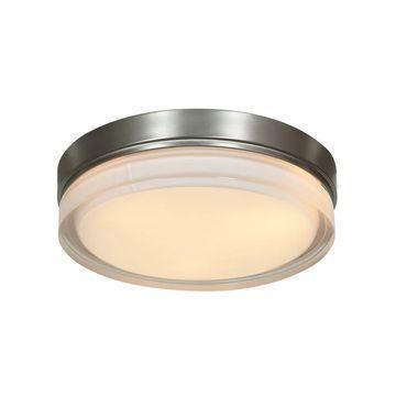 Access Lighting Solid LED 9-inch Flush Mount, Brushed Steel