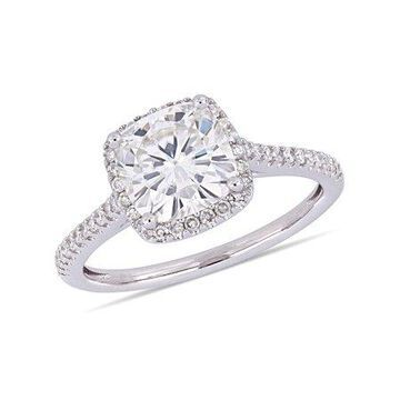 2 Carat T.G.W. Moissanite and 1/4 Carat T.W. Diamond 14kt White Gold Halo Engagement Ring
