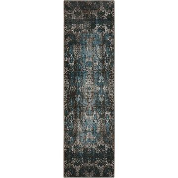 Nourison Karma 2 x 7 Blue Indoor Abstract Area Rug Polyester   34126