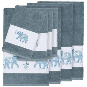 Authentic Hotel and Spa Turkish Cotton Elephants Embroidered Teal Blue 8-piece Towel Set