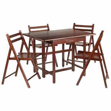 Pemberly Row 5 Piece Set Drop Leaf Dining Set in Walnut