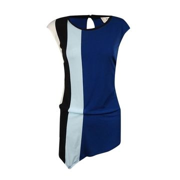 ECI Women's Colorblocked Asymmetrical Jersey Top - Navy - M