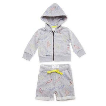 Sovereign Code Size 3M 2-Piece Dino Zip-Up Hoodie and Short Set in Heather Grey