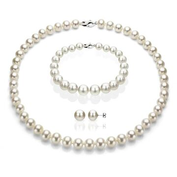 DaVonna Sterling Silver Freshwater Pearl Jewelry Set (6-7mm) (White)