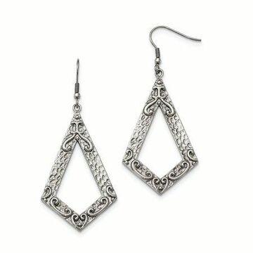 Primal Steel Stainless Steel Polished & Textured Dangle Shepherds Hook Earrings